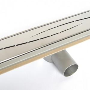 Odpływ liniowy Steel Line wykonany ze stali nierdzewnej. Przepustowość 45 l/min, stalowy osadnik zanieczyszczeń. Odpływ w dwóch wariantach: z jedną z 8 ozdobnych maskownic lub z wkładem do zabudowy płytką. Standardowe długości – 50-150 cm, wys. zabudowy 9 cm, szer. 8 cm. Cena: od ok. 400 zł,  Ced'Or.