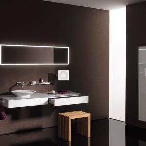 Światło o barwie zimnej czy ciepłej? Można wybierać. Oświetlenie LED tworzące obramowanie lustra ściennego (159,3x64,3 cm) z oferty Emco w dwóch opcjach: emitujące światło ciepłe lub zimne. Lusterko kosmetyczne powiększające (3- lub 5-krotnie), z oświetleniem LED, 22x22 cm, wysięg ramienia do 32 cm; 2.054 euro/ścienne, 597 euro/kosmetyczne, www.emco-polska.pl.