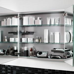 Szafka lustrzana to rozwiązanie 2w1: fronty zastępują tradycyjne lustro, wnętrze można zorganizować indywidualnie. Półki szafki My View Villeroy&Boch umieszcza się na dowolnej wysokości; dodatkowo: schowki, lusterko powiększające, gniazdko z zasilaniem. Lampy LED po obu stronach drzwi oświetlają łazienkę oraz wnętrze szafki; szer. 60, 80, 100, 120 cm, cena: ok. 5.520 zł, www.villeroy-boch.pl