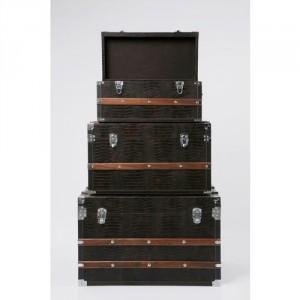 Trzy skrzynie Croco Brown, Kare Design.