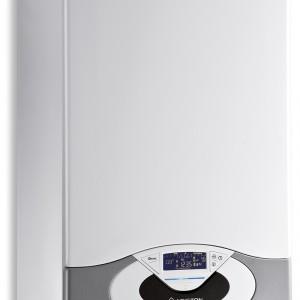 Genus Premium Evo 35 FF - kondensacyjny, wiszący. Przystosowany do współpracy z panelami solarnymi. Przystosowany do zdalnego sterowania. Moc jest regulowana na podstawie realnego zapotrzebowania ciepła. Podświetlany wyświetlacz matrix. Pompa z pełną modulacją elektroniczną. Moc: od 3,5 do 31 kW (c.o.), wymiary: 77x44mx51 cm. Cena: ok. 8.930,96 zł, Ariston.