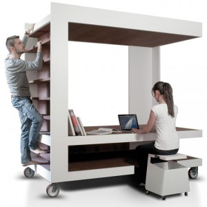 Luoto – wielofunkcyjna bryła, w której mieści się łóżko, biurko, a nawet regał na książki...
