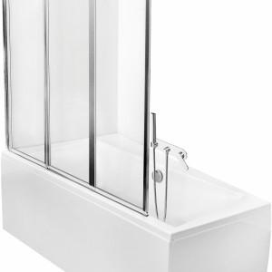 Premium – parawan; oferowany w wersji dwu – oraz trzyskrzydłowej; wypełnienie ze szkła, profil przyścienny gwarantuje szczelność; wys. 140 cm; cena: ok. 597 i ok. 769 zł, PMD Piramida.