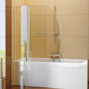 Soleo – parawan nawannowy, ścianka stała plus skrzydło pojedyncze, uchylne; szkło (gr. 6 mm) z powłoką Active Shield; 100x140 cm; cena: ok.1.038 zł, New Trendy.
