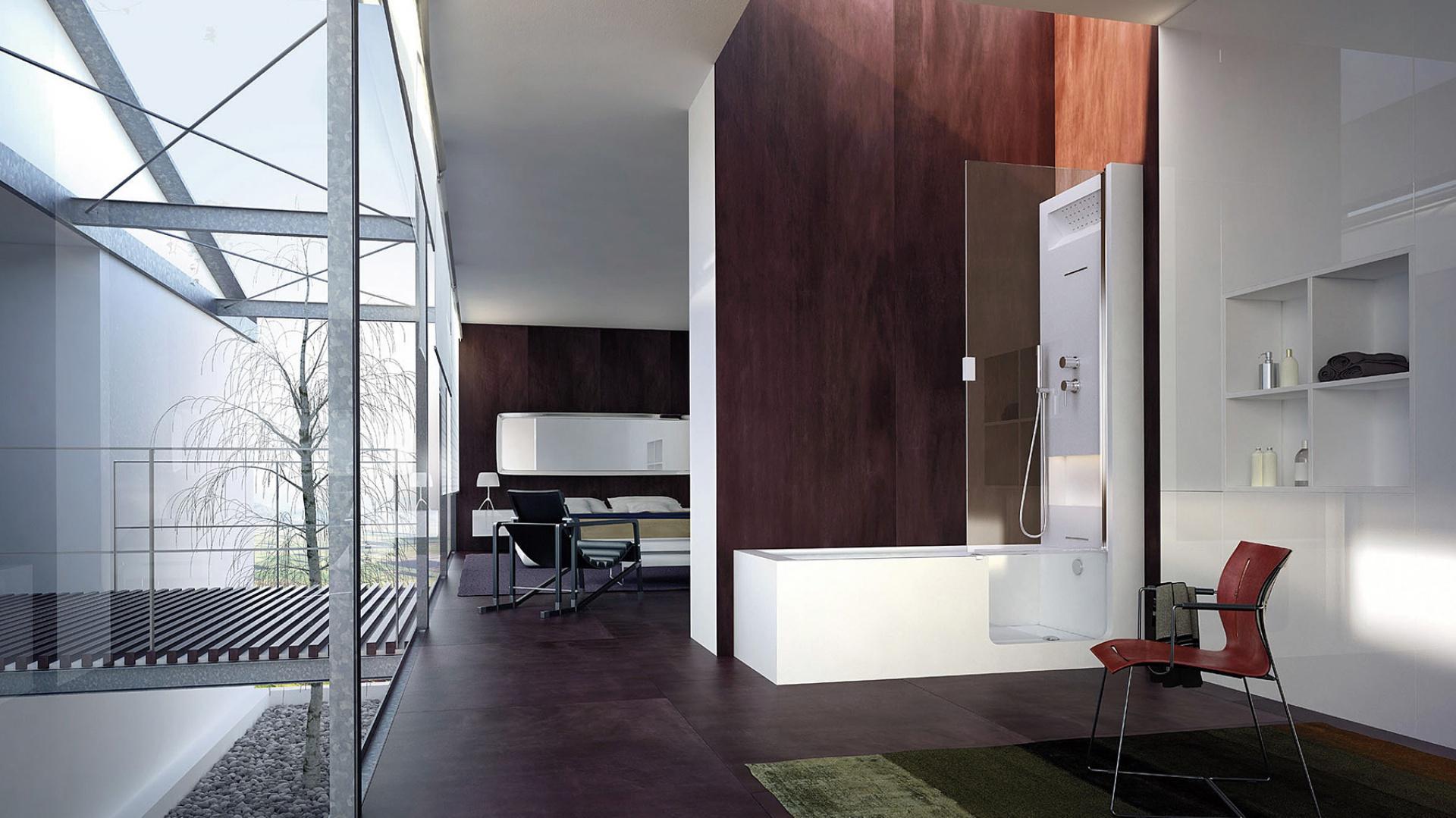 Elle Door – typu kombi; całość z materiału Hardlite; wypełnienie drzwi ze szkła (gr. 8 mm), otwieranie w zakresie 180°; wymiary na zamówienie: szer. 70-75 cm, dł. 160-180 cm; opcjonalnie: bateria termostatyczna, kaskada górna i dolna, zestaw natryskowy, chromoterapia, system  masażu powietrznego; cena: ok. 48.050 zł, Glass.