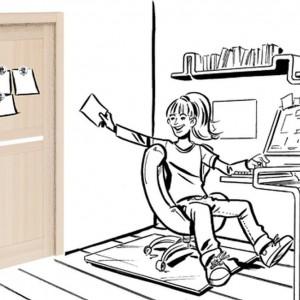 Drzwi z tablicą magnetyczną, do której można przyczepić karteczki, to idealne rozwiązanie dla pracusiów. Rys. Drzwi i podłogi VOX.