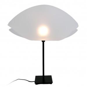 Stojąca lampa Bivalvia inspirowana światem morskich zwierząt. Abażur z transparentnego polipropylenu.