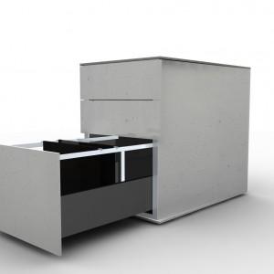 Szafka betonowy prostopadłościan, w którym ściana frontowa została podzielona na odrębne szuflady. Projekt niemieckiego biura xxd idealnie sprawdzi się w biurze w styku loft. Fabryka Form.