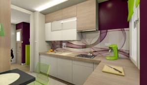 Kuchnia i korytarz w stylu nowoczesnym.