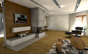 Salon, kuchnia i hall w stylu nowoczesnym.