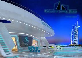 Wizualizacja tylnego tarasu z jacuzzi-Global Yacht.