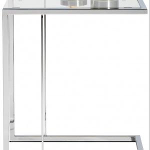 Stolik wykonany ze szkła przezroczystego i chromu, produkty dostępne w rożnych kolorach. Fot. BoConcept.
