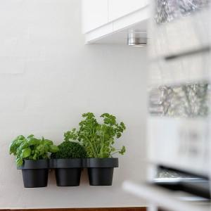 Pojemnik z trzema komorami, wykonany z tworzywa sztucznego. Można go używać jako doniczki na zioła, przyprawy czy kwiaty. Dostępny także w kolorze białym. Wym.: 37,4x13,2x10,5 cm. 131 zł, Skagerak/Galeria Limonka.