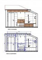 Rzut prezentuje ścianę łazienki utrzymanej w stylu minimalistycznym, z interesującymi wizualnie elementami z naturalnego drewna.
