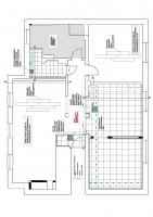 Rzut mieszkania pokazujący układ poszczególnych pomieszczeń, rozplanowanie ciągów komunikacyjnych oraz rodzaje proponowanych posadzek.