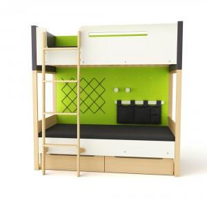 Łóżko piętrowe doskonale sprawdzi się w niewielkim pokoju.