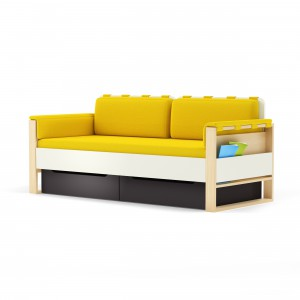 Żółta sofa to idealny mebel do strefy nastolatki.