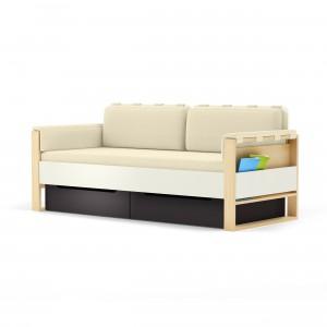 Sofa z serii Loft zawiera boczne schowki, porządkujące czasopisma, książki, czy gry.