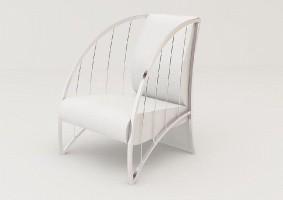Mebel jest połączeniem metalu i materiału (skóra). Całość sprawia wrażenie lekkiego, wygodnego siedziska zarówno do wnętrz prywatnych jak i publicznych.