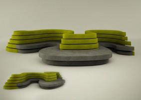 Projekt siedziska przeznaczonego do strefy użyteczności publicznej (hol). Duży mebel pomieści wiele osób, a dzięki swoim kształtom śmiało może stać na większej, otwartej przestrzeni, stając się atutem i atrakcją.