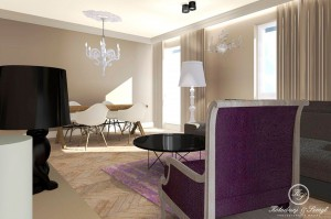 Projekt wnętrza apartamentu na warszawskim Ursynowie o powierzchni 115 m². Wnętrze jest nowoczesne ale Inwestorom zależało na kilku detalach retro. Dlatego zdecydowaliśmy się na zastosowanie na  podłodze parkietu układanego w jodełkę francuską, a w sąsiedztwie nowoczesnych zabudów meblowych znajdują się stylizowane meble jak biurko w gabinecie czy szafka pod telewizor w sypialni.