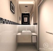 Projekt łazienki w domu jednorodzinnym w Wilanowie. Łazienka utrzymana jest w nowoczesnym stylu.Łazienka na parterze to odcienie kawy z mlekiem którą przełamuje czarna ściana vis a vis umywalki.