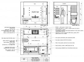 Przykładowy rysunek wykonawczy łazienki z opisanym wyposażeniem i materiałami wykończeniowymi.