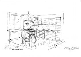 Szkic kuchni ze stolikiem i TV.