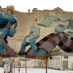 Łódź, ul.Pomorska-ul.Sterlinga, mural Aryza – Hiszpania. Fot. Panoramio