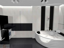Nowoczesna łazienka czarno - biała