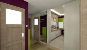 Hall w fioletowo-zielonym mieszkaniu.