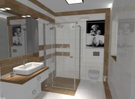 Brązowo - biała łazienka z wizerunkiem Merlin Monroe