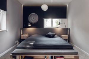 Dom w stylu skandynawskim - sypialnia.