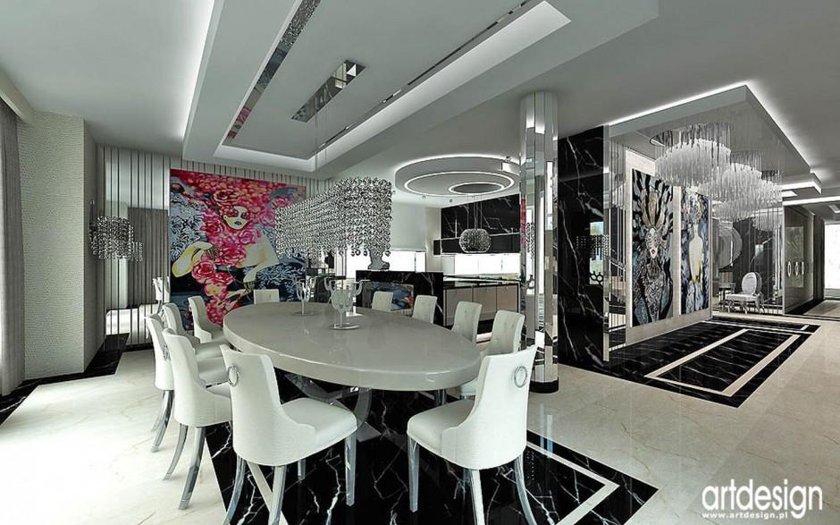 Realizacja Architekta Czarno Biała Kuchnia W Stylu Glamour