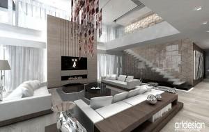 Salon w beżowo - białej tonacji