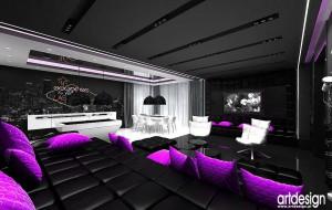 Nowoczesny salon w tonacji czarnej z akcentami fioletu