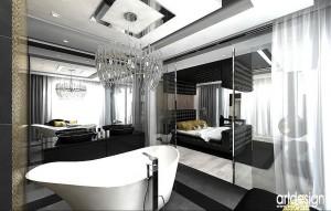 Sypialnia z zawoalowaną łazienką