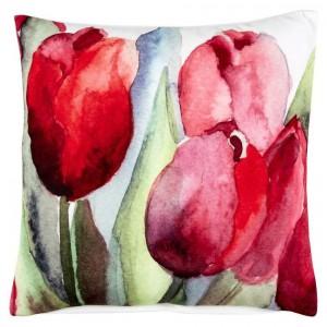 Poduszka dekoracyjna Blume z akwarelowymi tulipanami. Fot. Home Living / Zalando.pl.