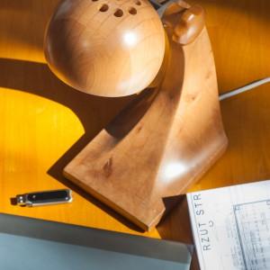 Oryginalna lampka na biurko wykonana z drewna eksponującego wizerunek słojów. Fot. Deco24.pl.