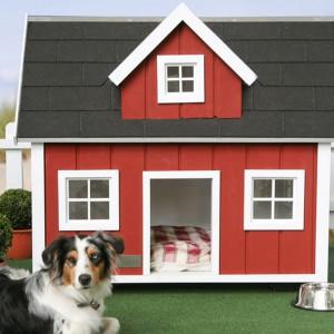 Wejście na dłuższej ścianie konstrukcji powoduje podzielenie powierzchni na dwie, obie są zbyt małe, by pies mógł się schronić. Fot. Filesluxury