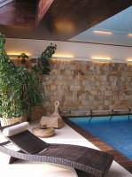 Pokój rekreacyjny w domu z basenem.