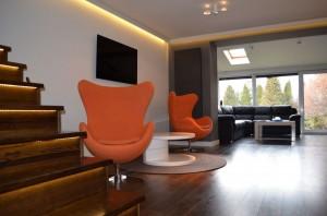 Salon w domu szeregowym w Sosnowcu.