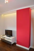 Pokój telewizyjny w domu szeregowym w Sosnowcu.