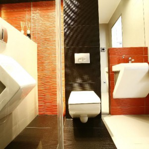 Mocna geometria form oraz kontrastowe kolory łazienki dla gości zostały ujarzmione, albowiem projektantka przy pomocy lustrzanego odbicia uzyskuje ład proporcjonalny oraz miłą dla oka harmonię barw. Sedes i bidet firmy Art Ceram, seria Fontana.  Fot. Marcin Onufryjuk.