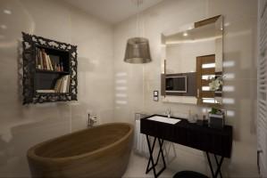 Salon kąpielowy w eleganckim apartamencie. Łazienka dzieli się na dwie strefy – funkcjonalną i relaksacyjną.