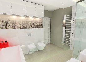 Też dla młodzieży ale już starszej. Miało być nowocześnie ,ale z tematem przewodnim. Tu mamy monochromatyczną łazienkę- temat przewodni to panorama miasta. Fototapetę w tak monochromatycznym pomieszczeniu można łatwo zmienić i uzyskać całkiem inny efekt.