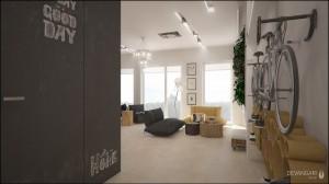 Niewielkie 34m2 mieszkanie pełne zaskakujących rozwiązań – składanych i mobilnych mebli, upcyclingowych dekoracji, biodegradowalnych materiałów wykończeniowych. Przedmiotów, którym nadano drugie życie. Atrakcję stanowi zielona ściana (tzw. wertykalny ogród), która poza swoimi walorami estetycznymi ma ogromny wpływ na psychikę i zdrowie ludzkie - zatrzymuje kurz, nawilża suche powietrze oraz korzystnie je jonizuje.