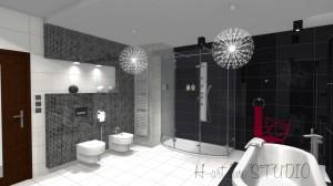 Łazienka w czerni i bieli z akcentami w kolorze amarantu.