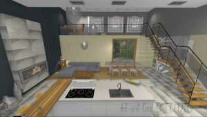 Naturalność kamienia agatu na płytkach w połączeniu z drewnem w kuchni otwartej na nowoczesny salon.