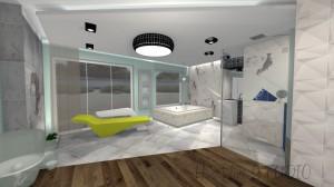 Sypialnia glamour z pokojem kąpielowym i garderobą. Mieszanka wnętrza glamour z nutą nowoczesności dla osoby lubiącej luksus i przestrzeń.
